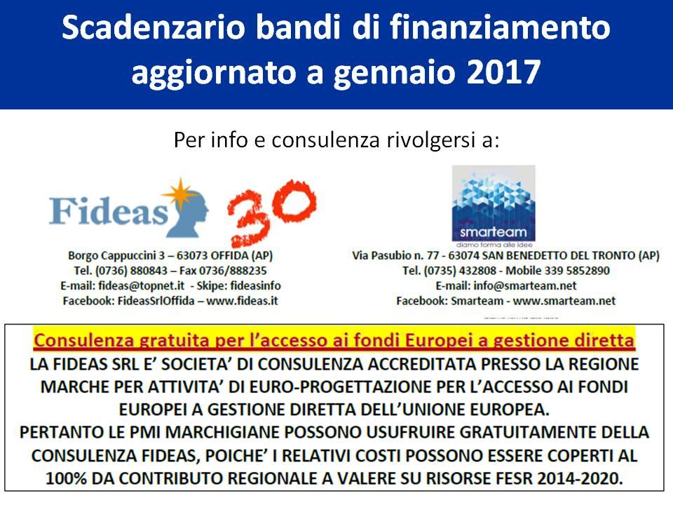 Scadenzario bandi fideas giuliano bartolomei for Scadenzario fiscale 2017
