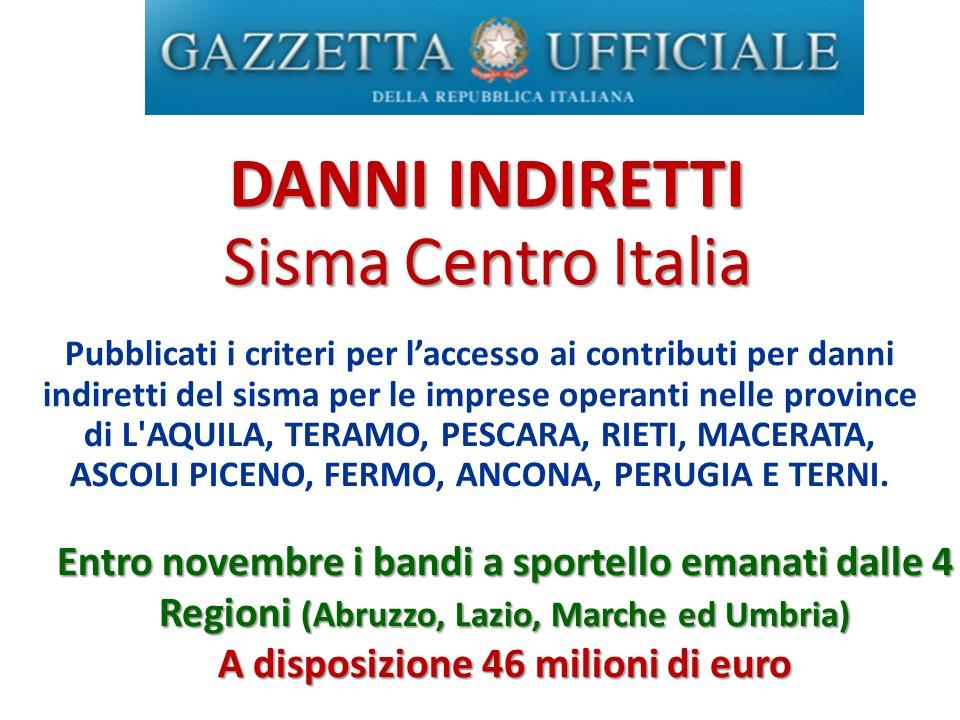Danni indiretti sisma centro italia giuliano bartolomei for Scadenzario fiscale 2017